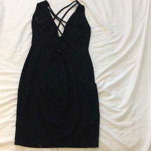 Dresses & Skirts - Bodycon plunge black dress w crisscross low back